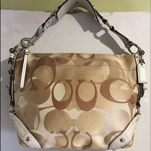 Coach CC signature print fabric canvas hobo bag